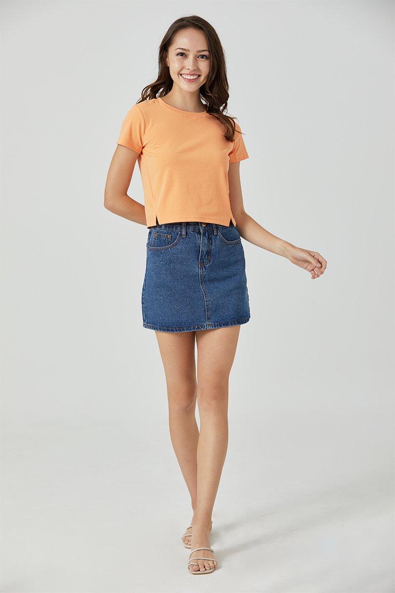 Lisza Cut Out Crop Top Neon Orange