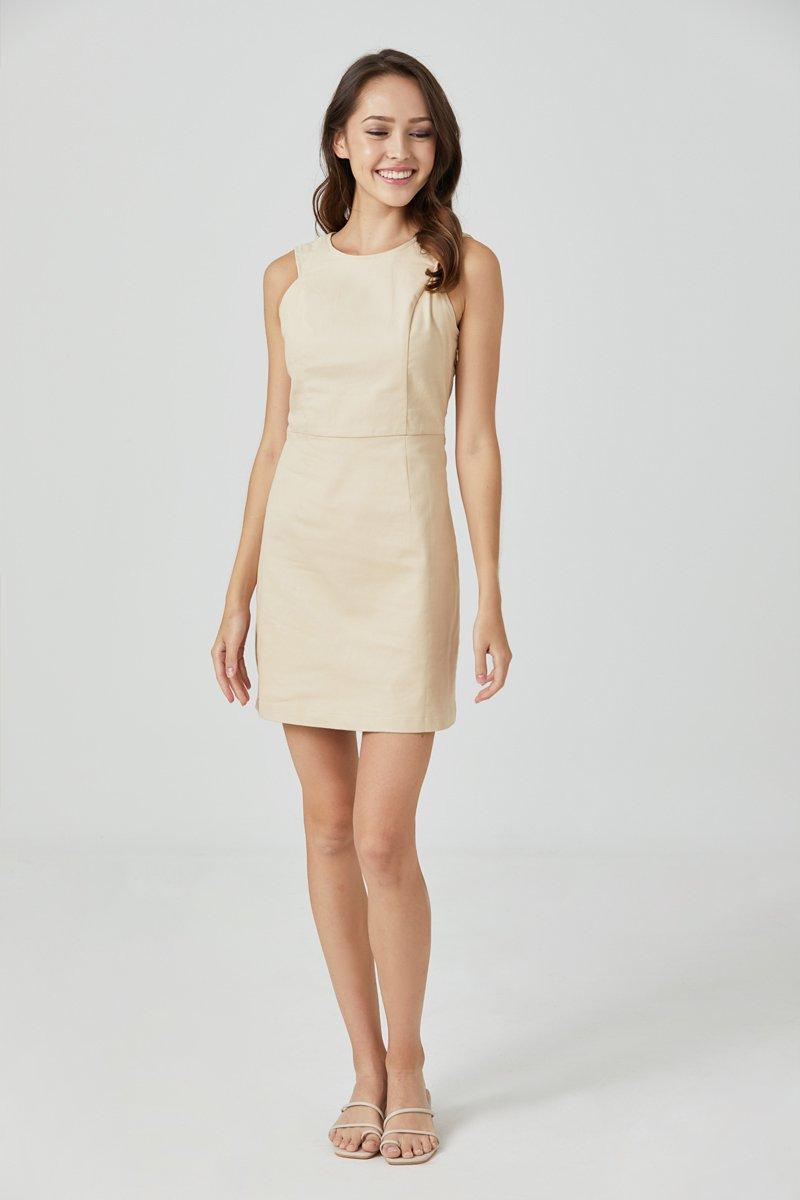 Dulcie Button Back Dress Cream