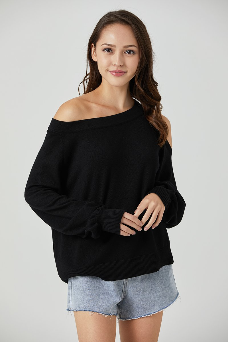 Tansy Cold Shoulder Knit Sweater Black