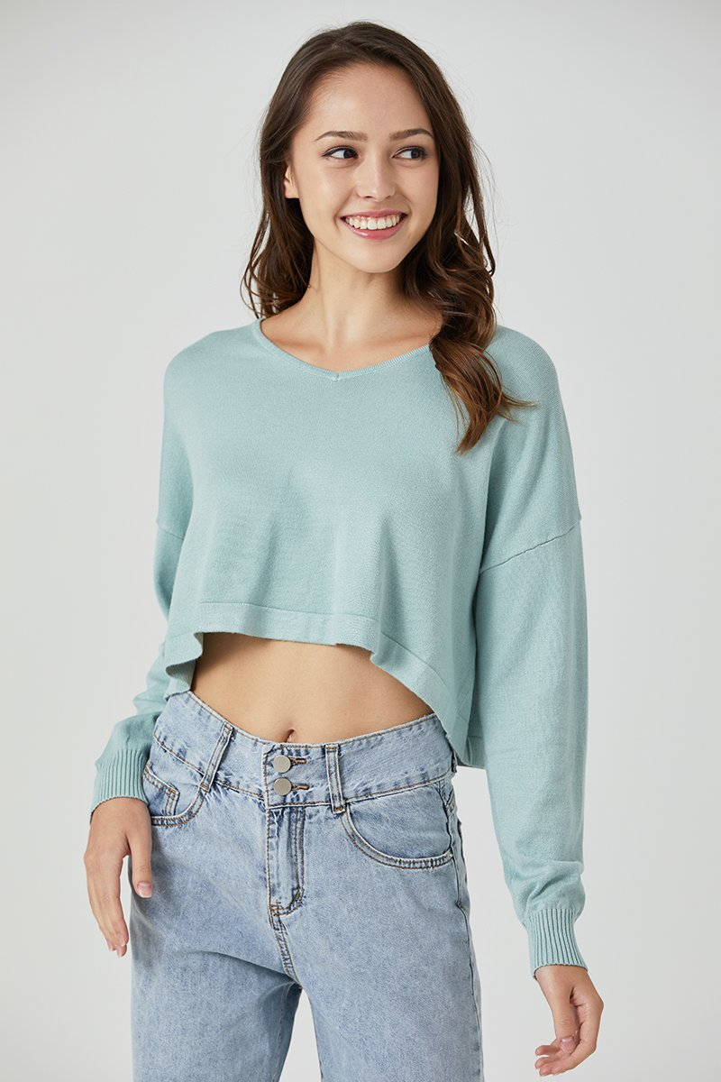 Tasha Cropped Knit Sweater Sage
