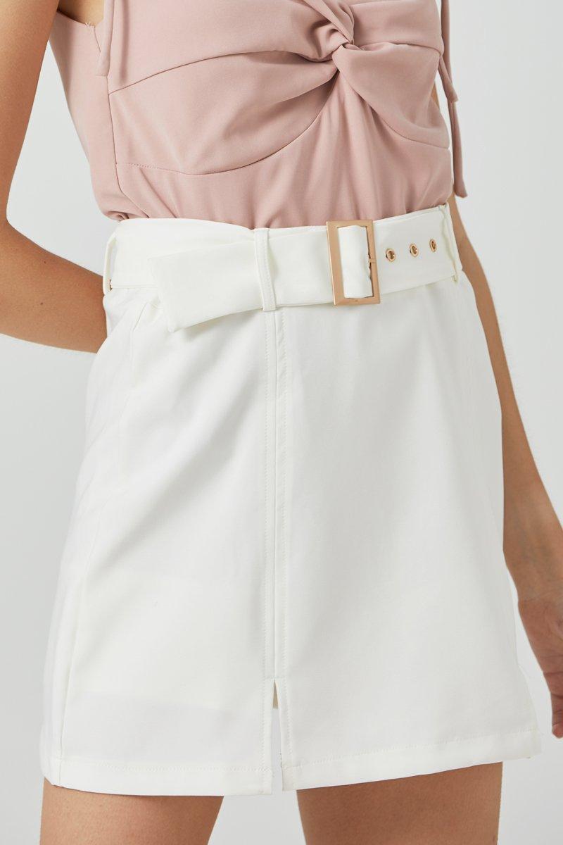 Maelys Belted Skirt Ivory