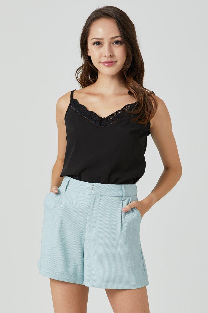 Ethel Stripe Tailored Shorts Mint