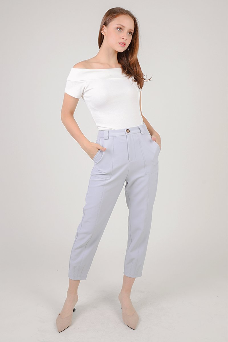 Arabelle Cropped Legged Tailored Pants Grey
