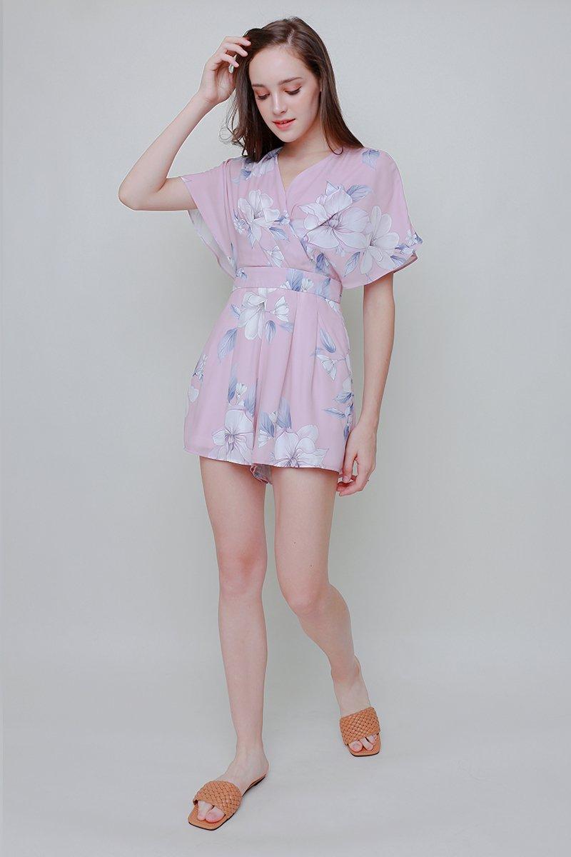 Abilene Floral Kimono Romper Blush