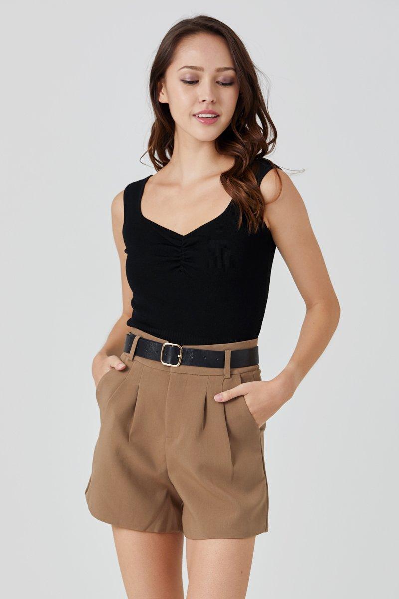 Zola Ribbed Knit Tank Top Black