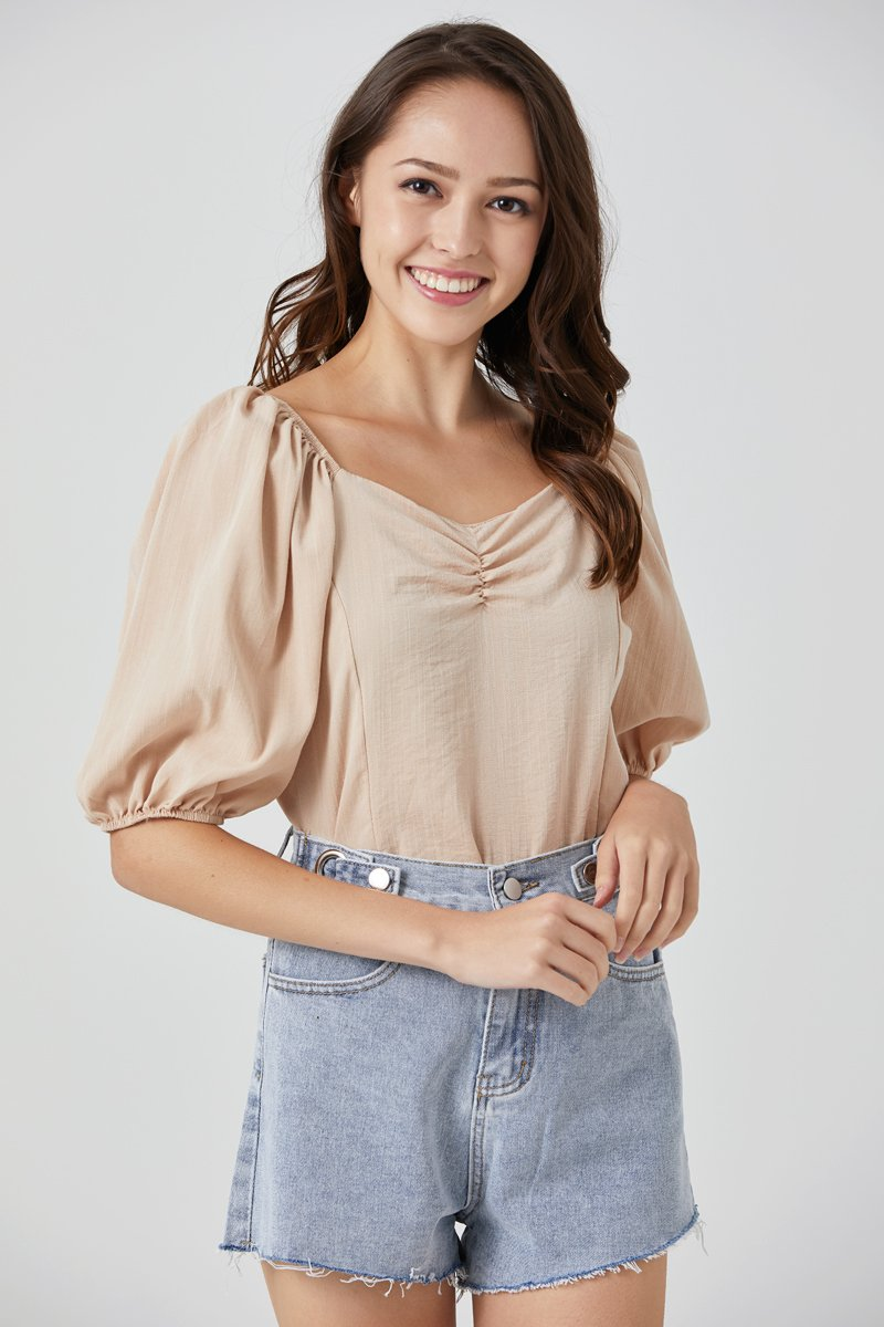 Andrea Puff Sleeve Top Sand