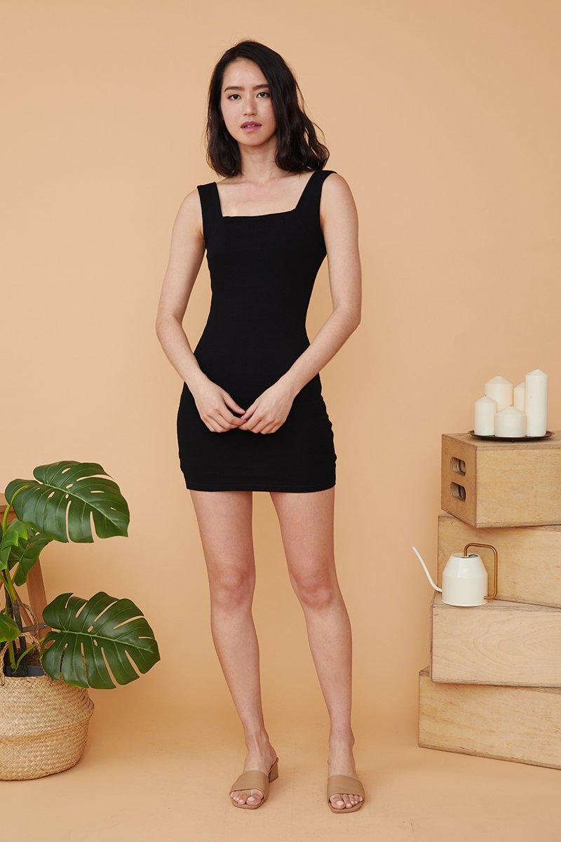 Cecile Square Neck Dress Black