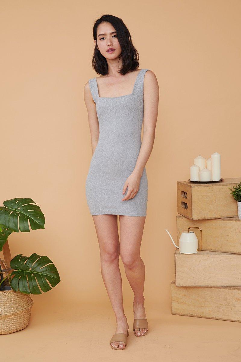 Cecile Square Neck Dress Grey