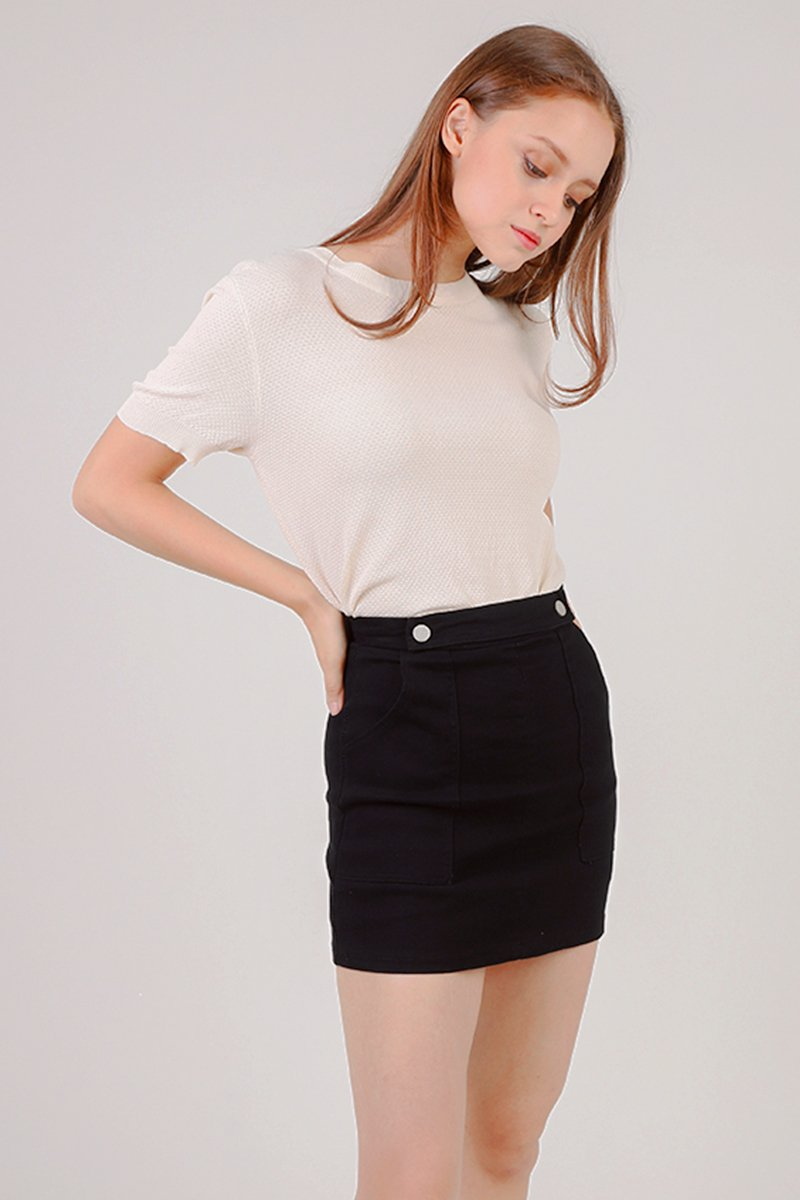 Rylie Round Neck Knitted Top Cream
