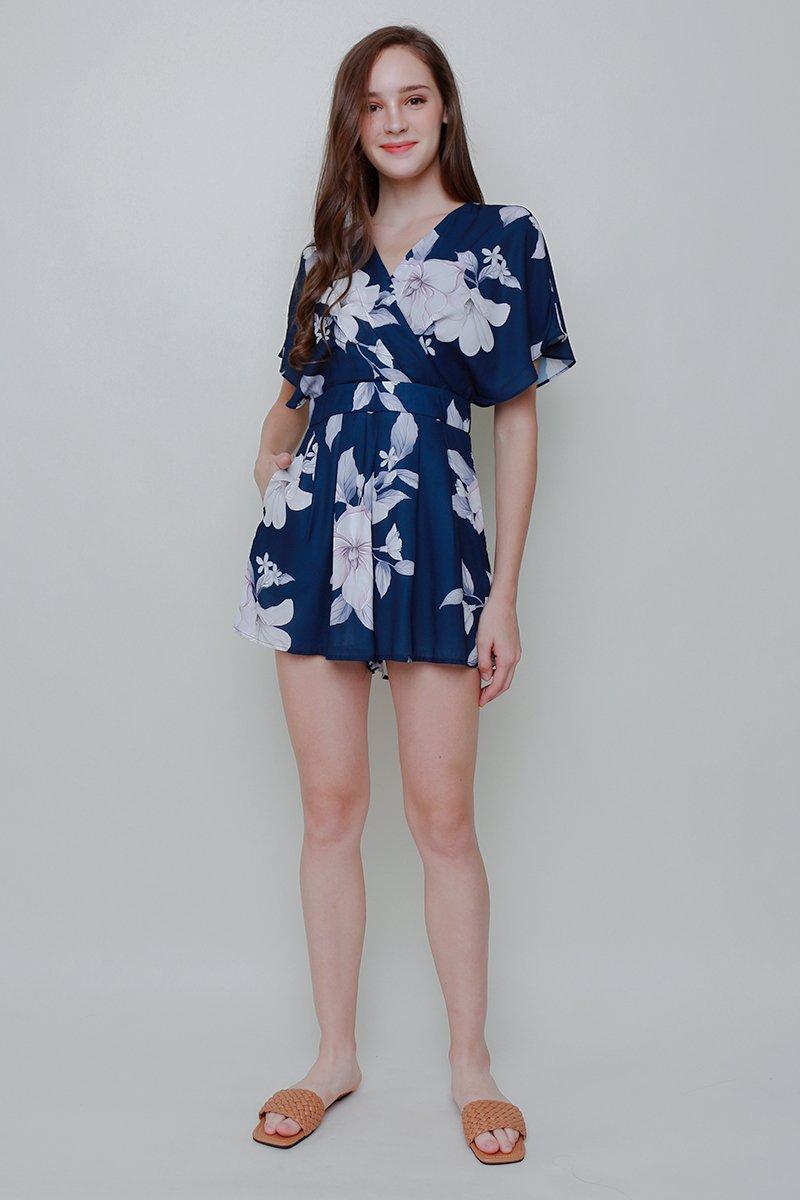 Abilene Floral Kimono Romper Midnight Blue
