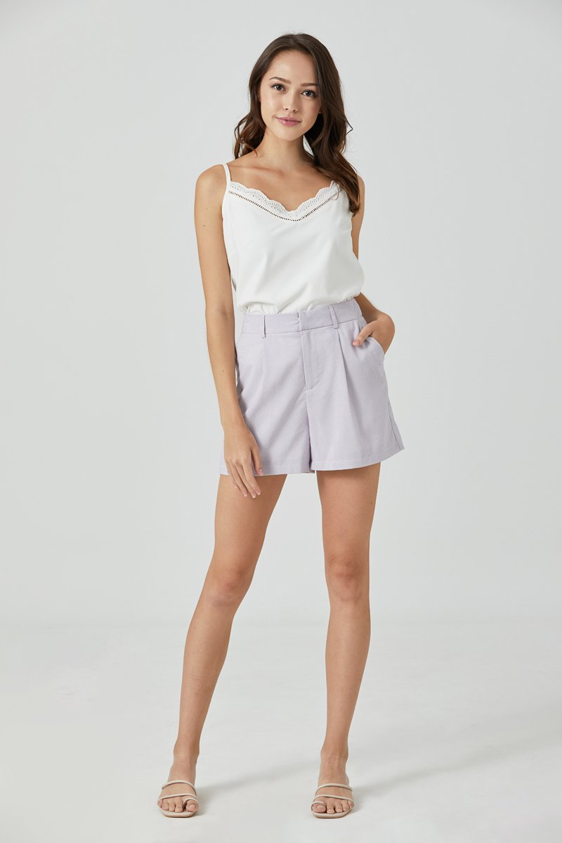 Ethel Stripe Tailored Shorts Lilac