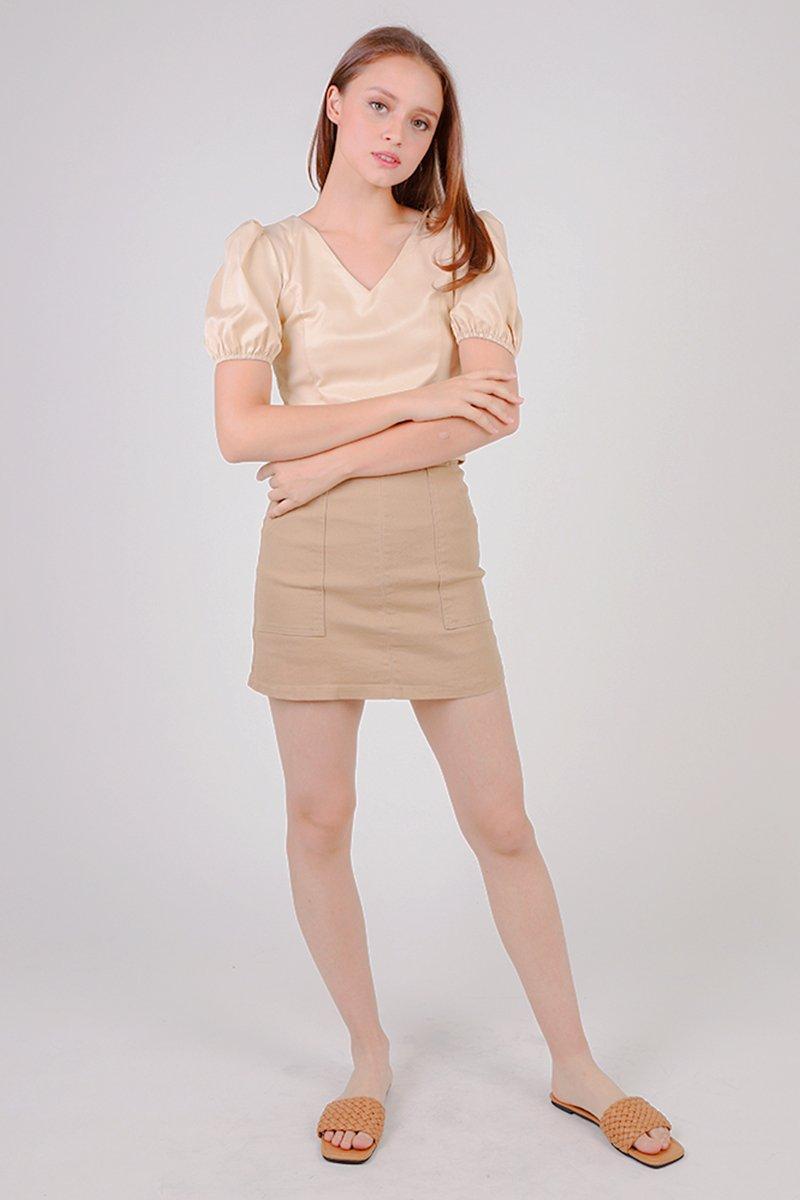 Darla Buttoned Front A-line Skirt Caramel