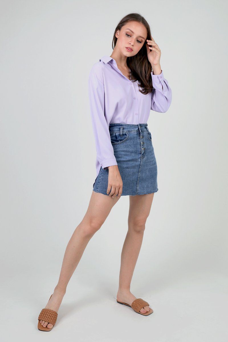 Thara Raw Hem Denim Skirt Darkwashed