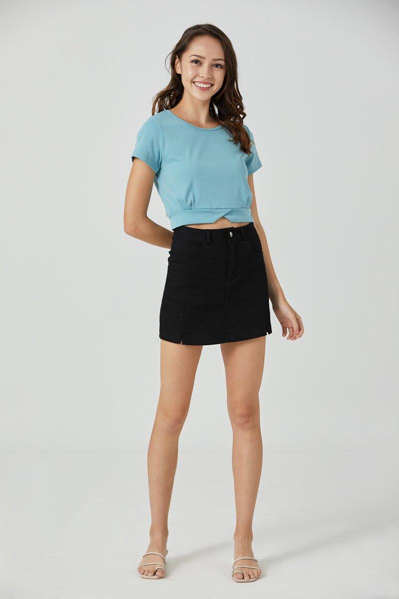 Lori High-waist Double Slit Denim Skorts Black