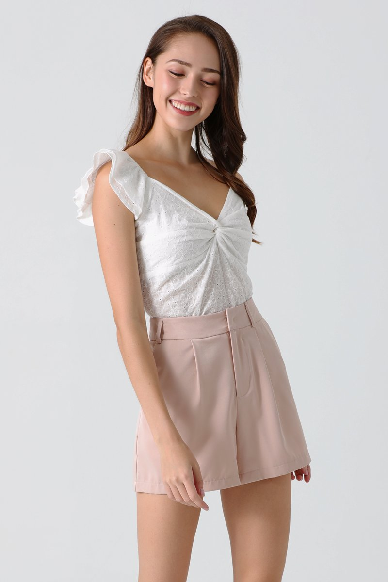 Lavelle Twist Front Eyelet Top Ivory
