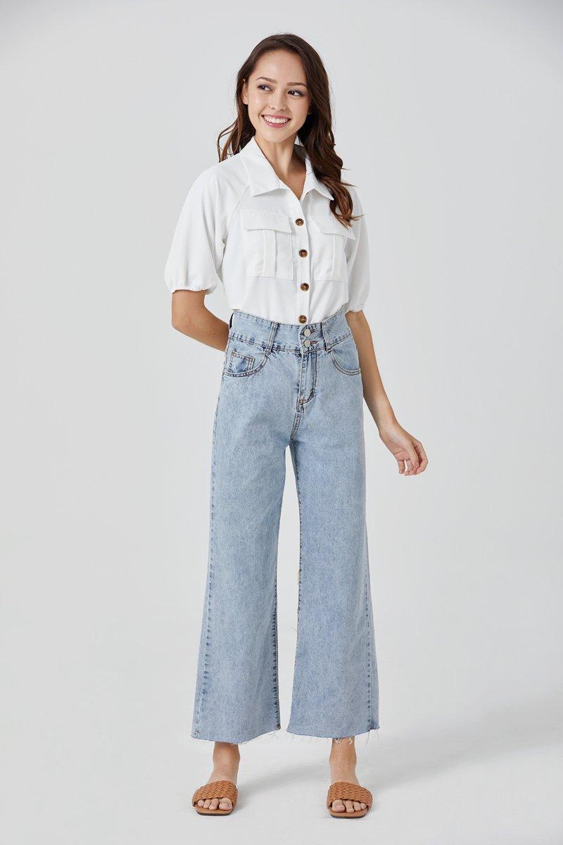 Abigail Utility Button Up Shirt Ivory