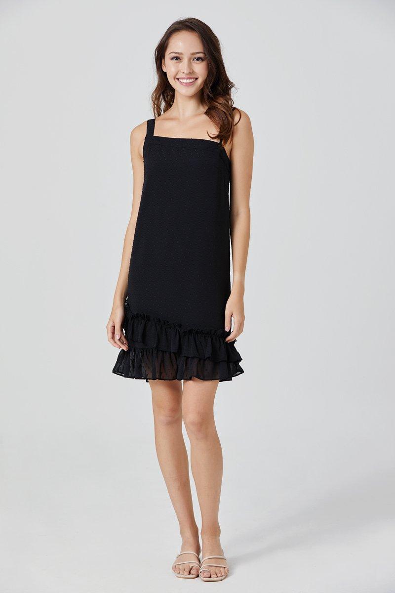 Felixa Toga Swiss Dot Dress Black