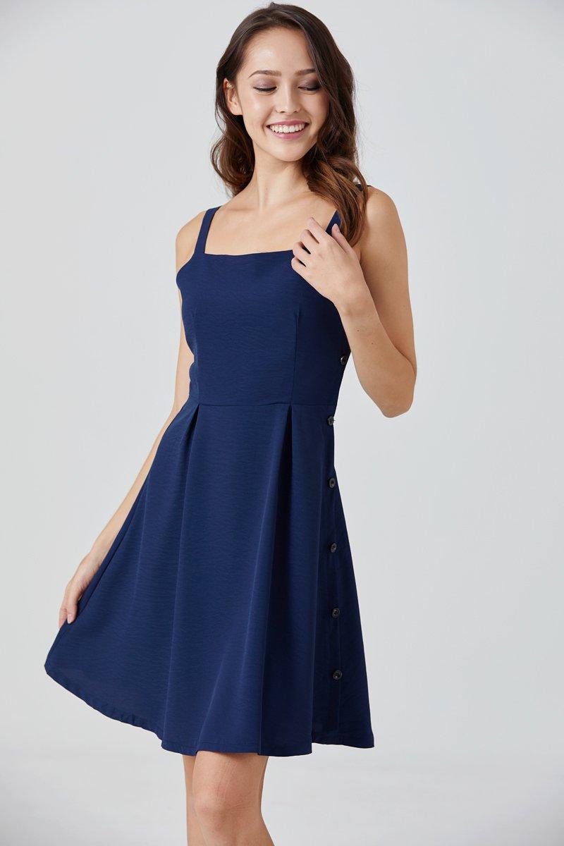 Elvera Side Button Dress Midnight