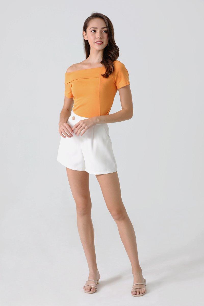 Lexis Cold Shoulder Half Collared Top Orange