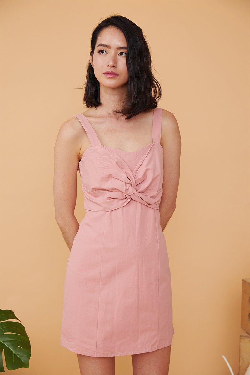 Ivette Front Knot Dress Blush