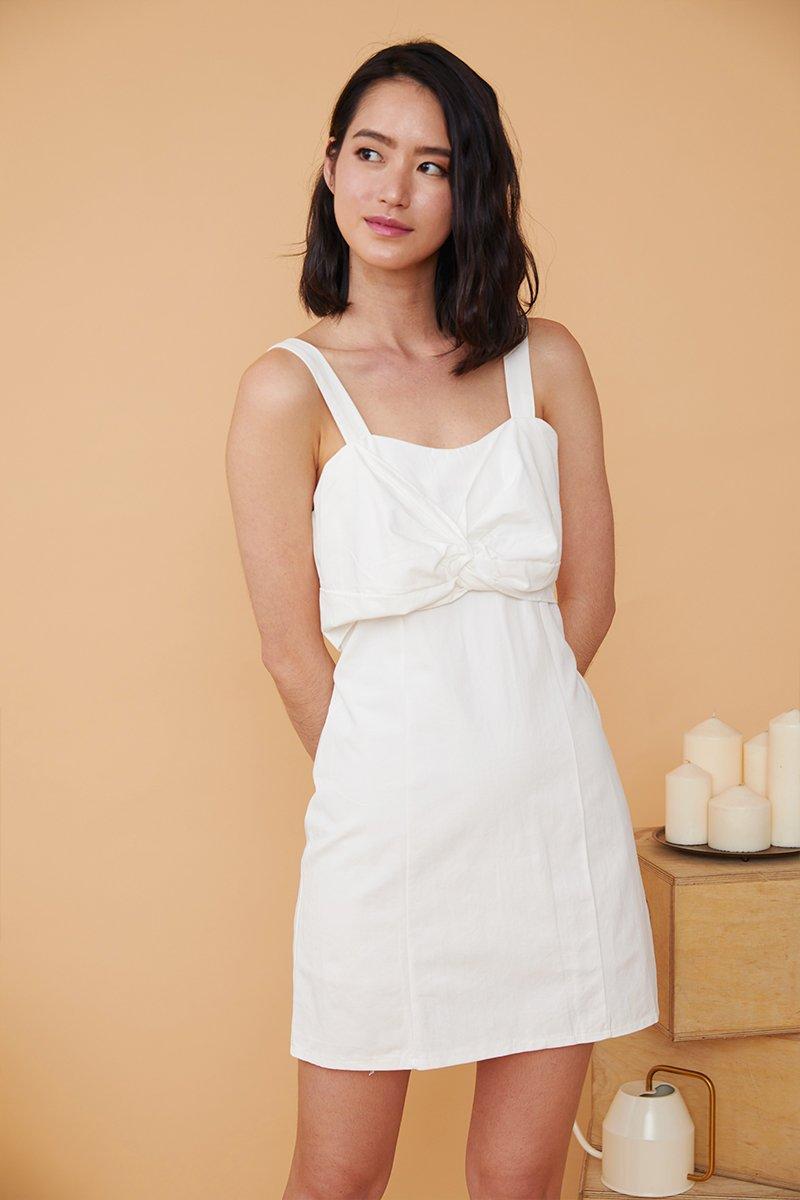 Ivette Front Knot Dress Ivory