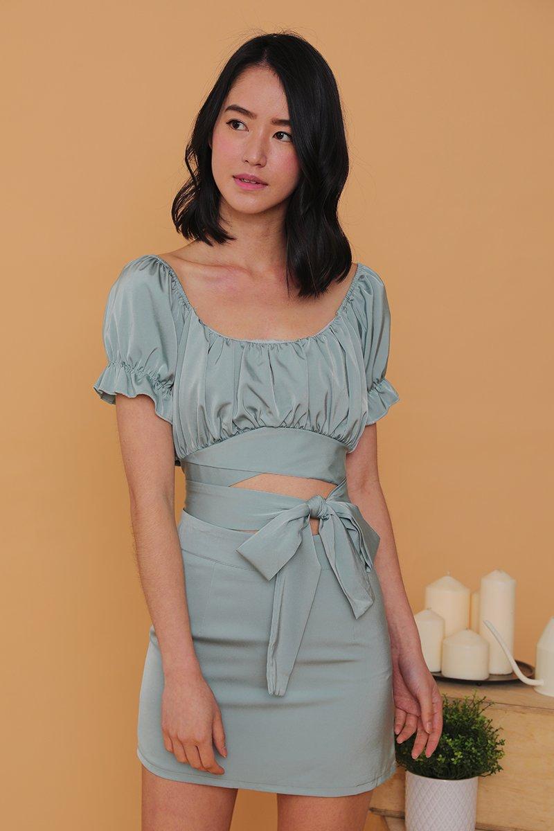 Savina 2 Piece Wrap Dress Set Mint