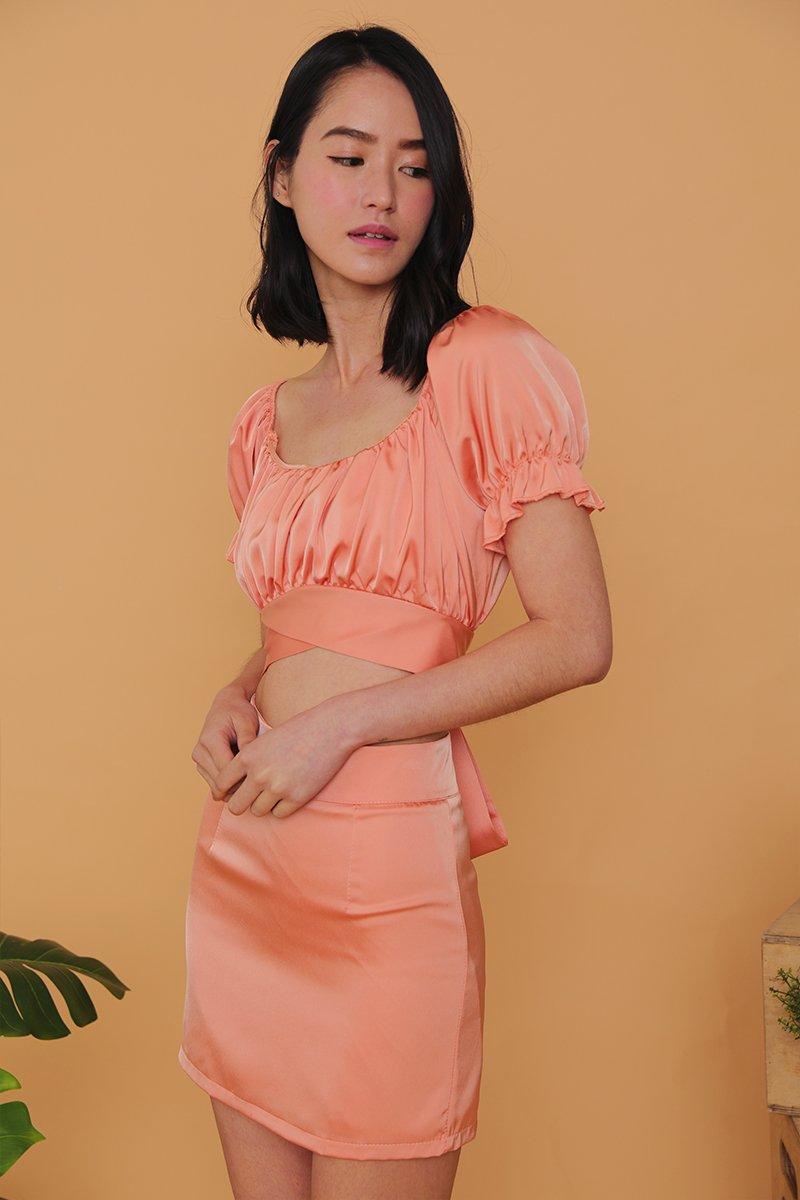 Savina 2 Piece Wrap Dress Set Cantaloupe
