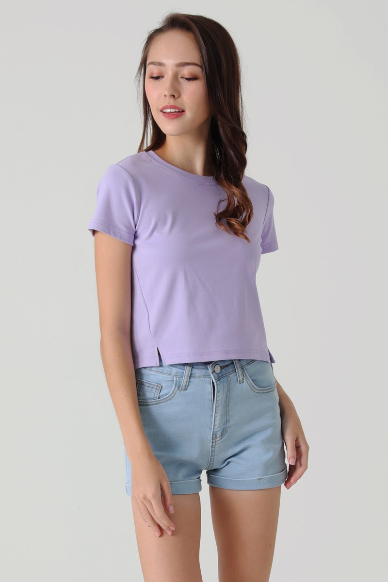Lisza Cut Out Crop Top Lilac