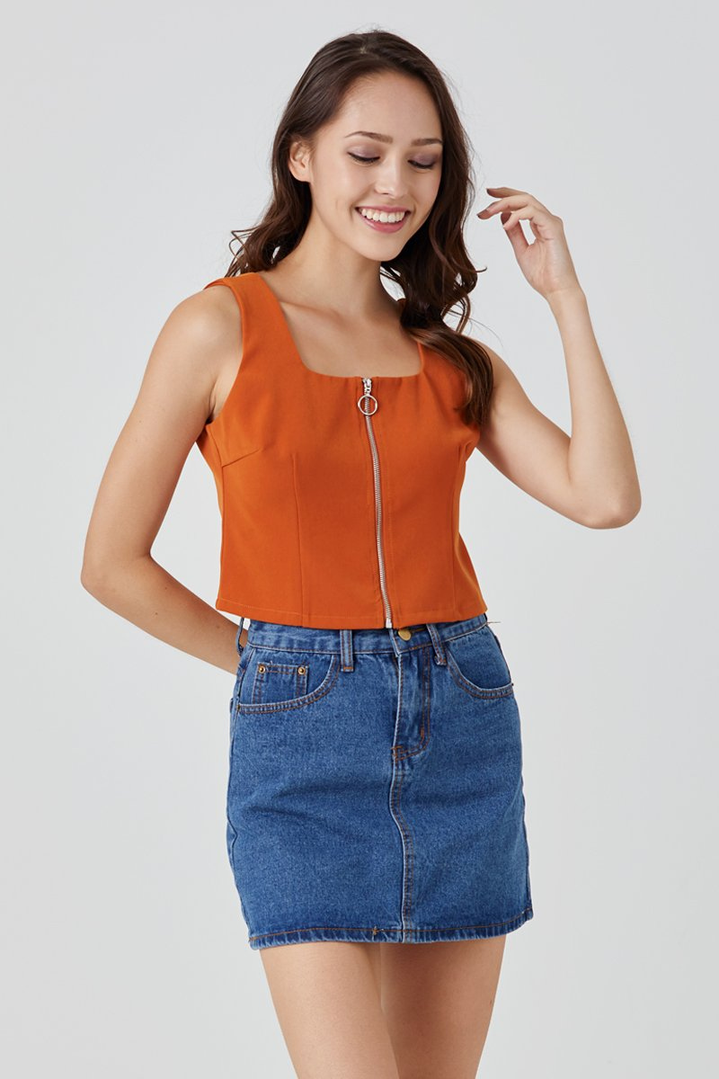 Brisa Front Zip Crop Top Marmalade