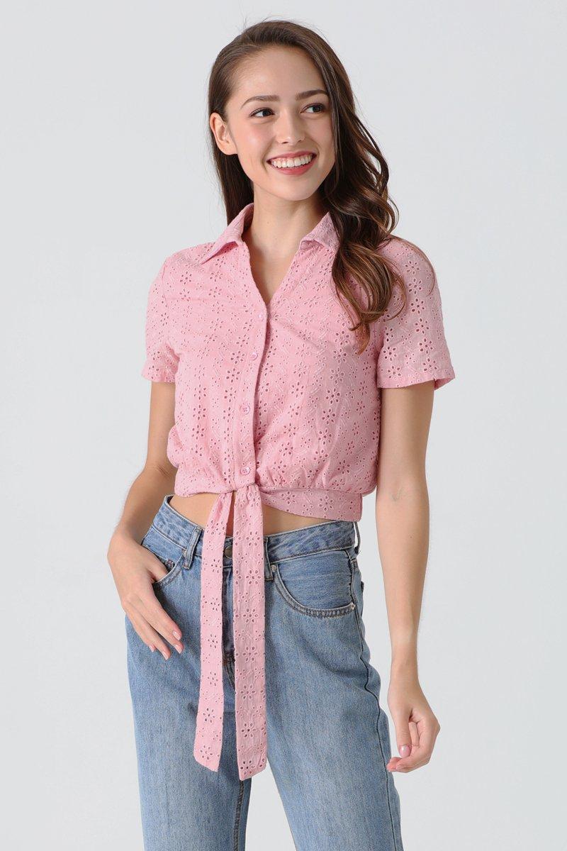 Connie Eyelet Collared Shirt Blush