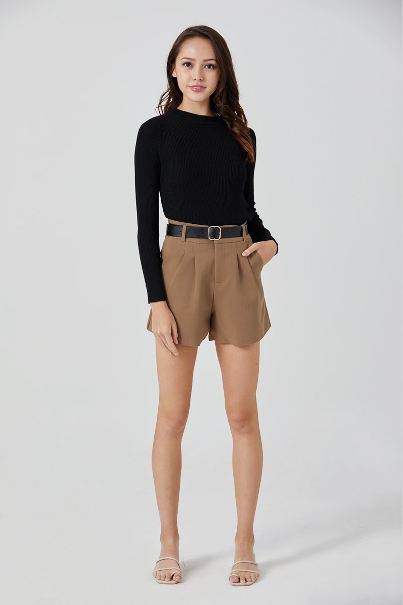 Jovelle Belted Pleated Shorts Coffee