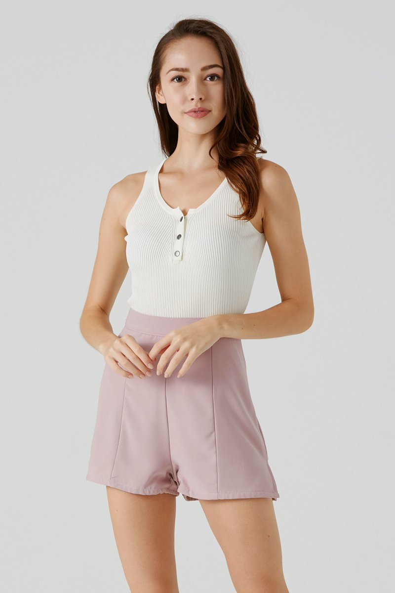 Hailey Knit Button Crop Top Ivory