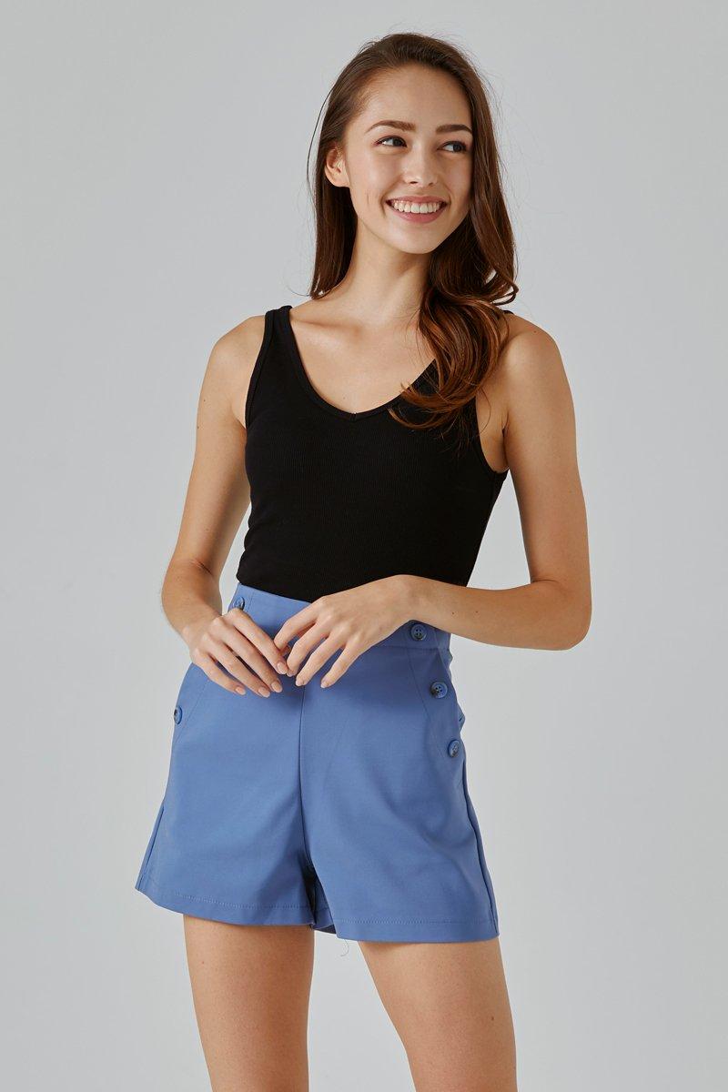 Evelyn Button High Waist Shorts Cobalt