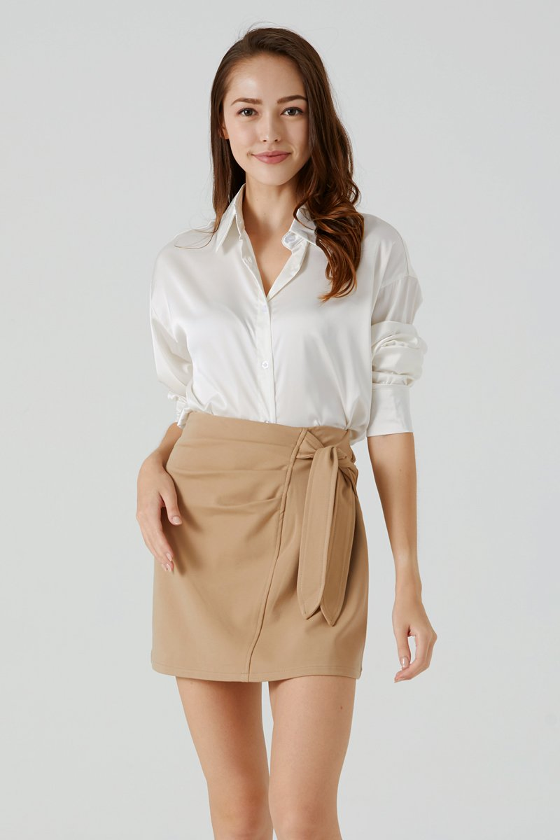 Blanche Front Tie Ruched Skirt Caramel