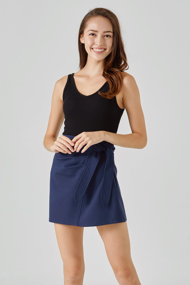 Blanche Front Tie Ruched Skirt Midnight