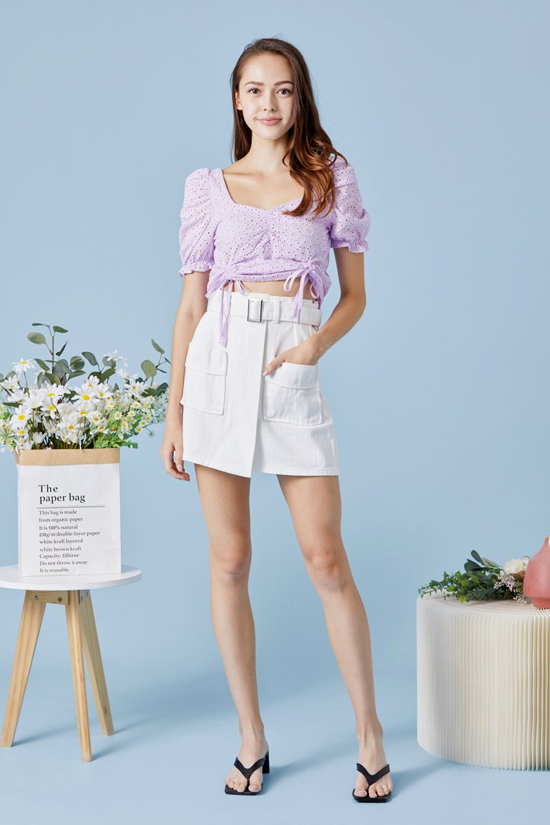 Haisley Eyelet Front Ruched Top Lilac