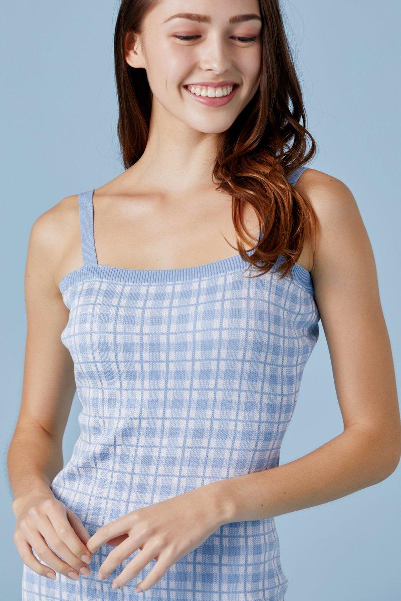 Primrose Checkered Knit Cami Dress Sky