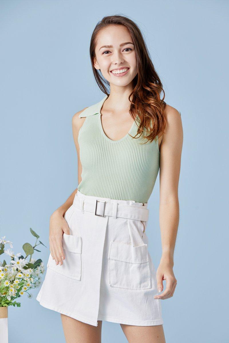 Everlee Paperbag Denim Skirt Ivory