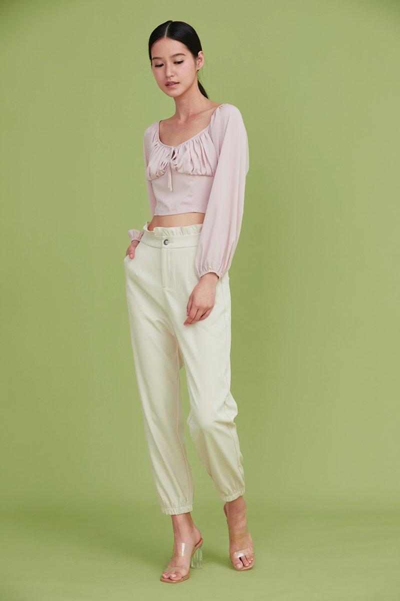 Linette Gathered Crop Top Blush
