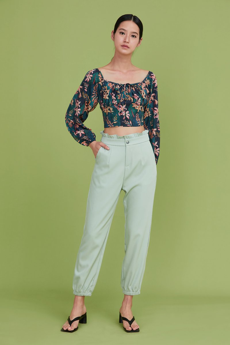 Linette Gathered Crop Top Forest