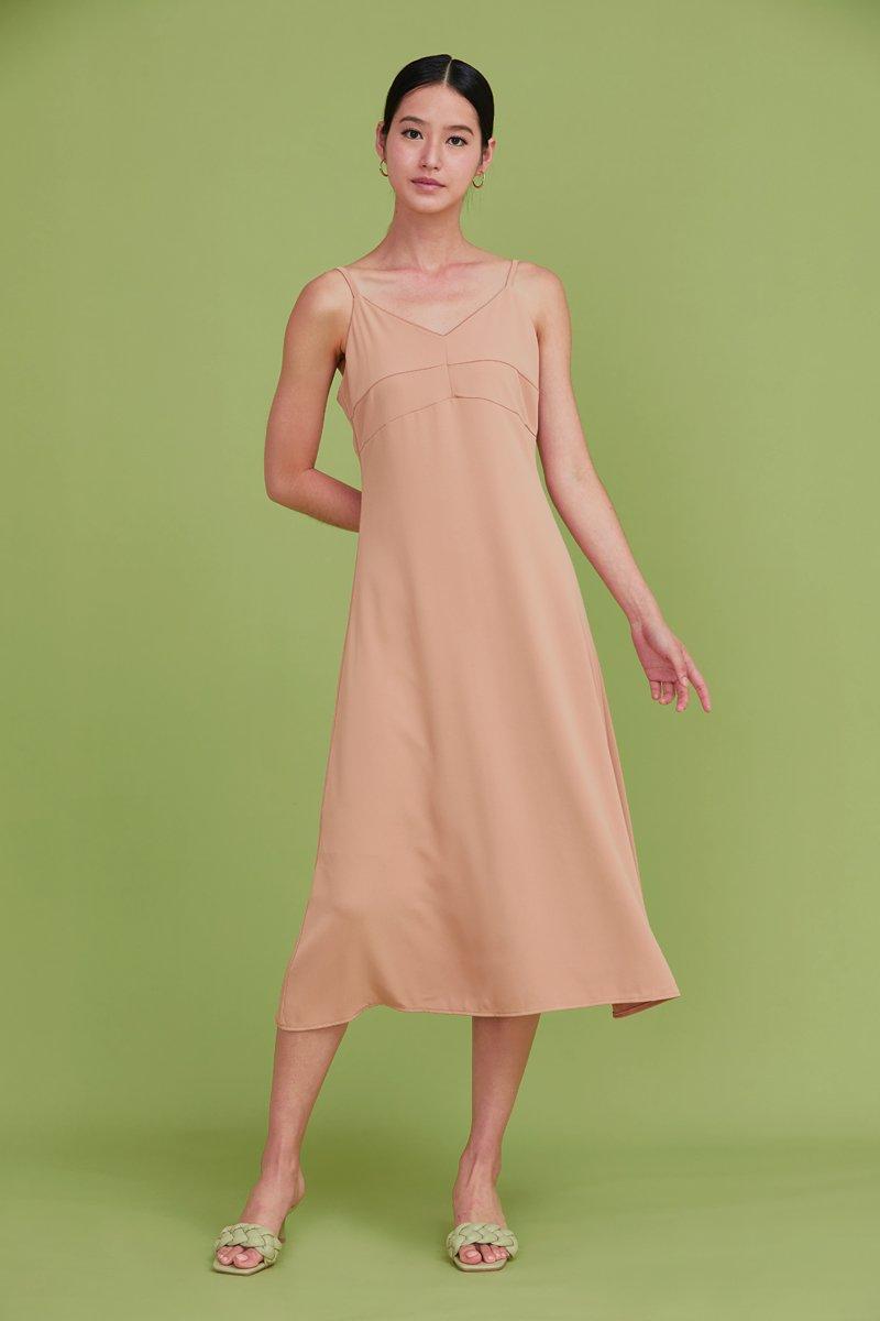 Camellia Midi Slip Dress Tan