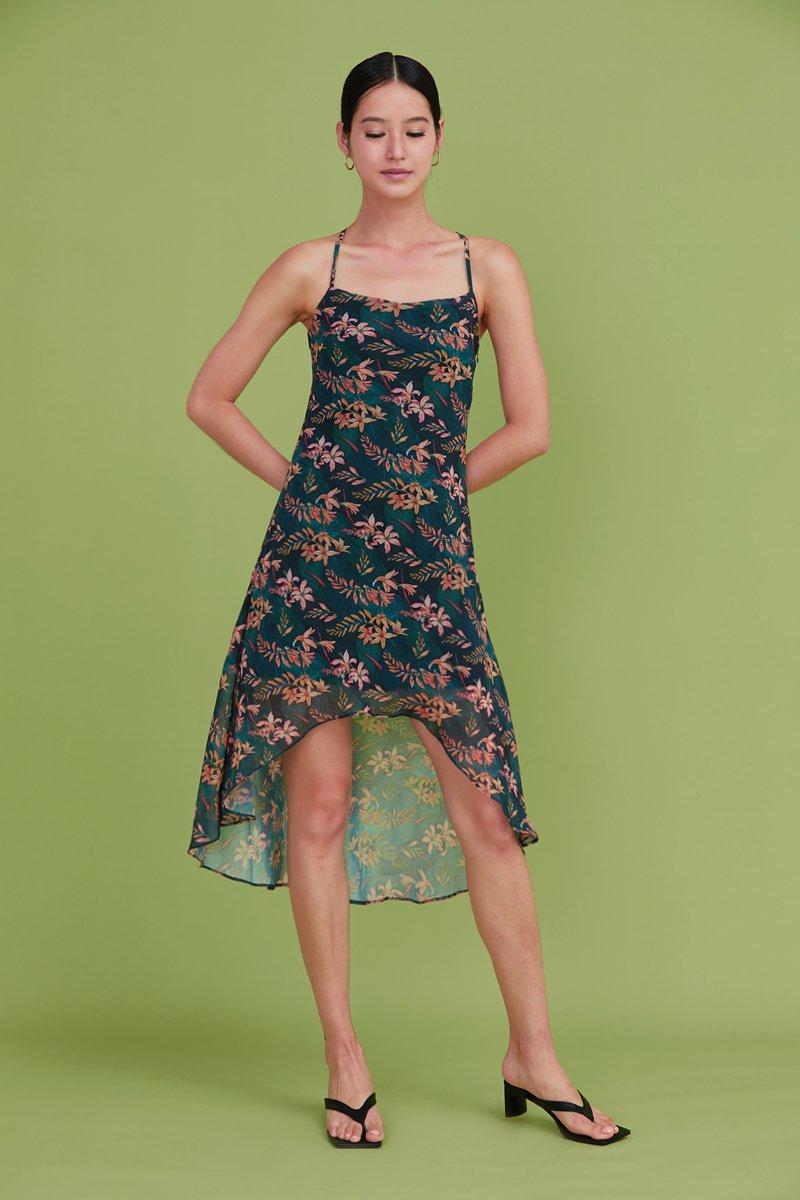 Lin Cross Back Slip Dress Forest