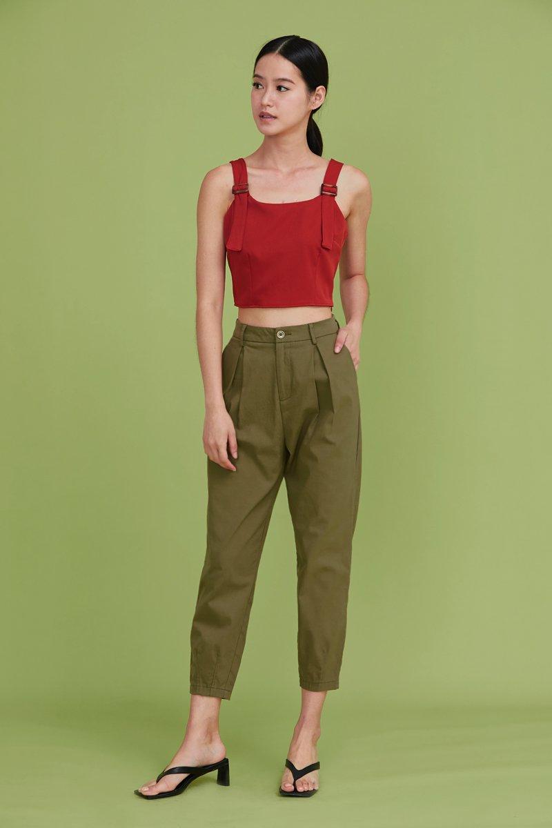 Yaelle Pleated Tapered Pants Olive