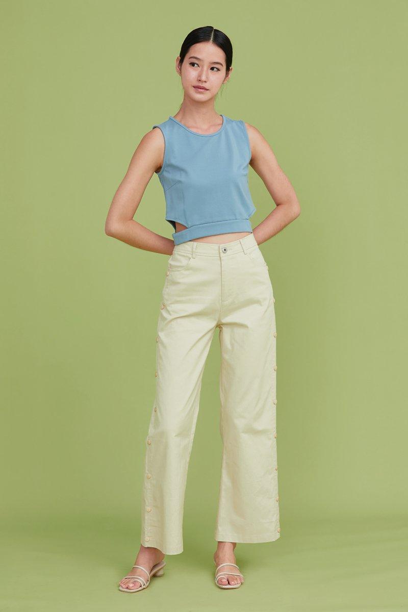 Raine Side Button Pants Cream