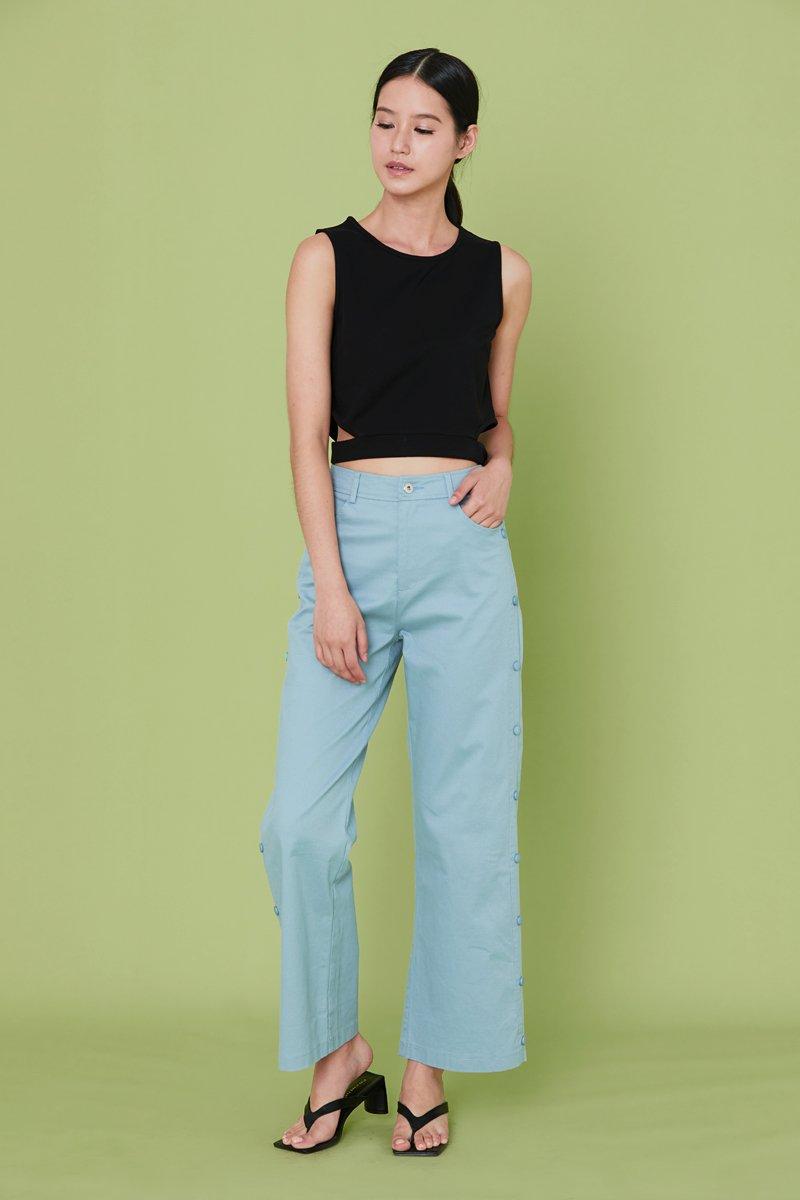 Raine Side Button Pants Cobalt