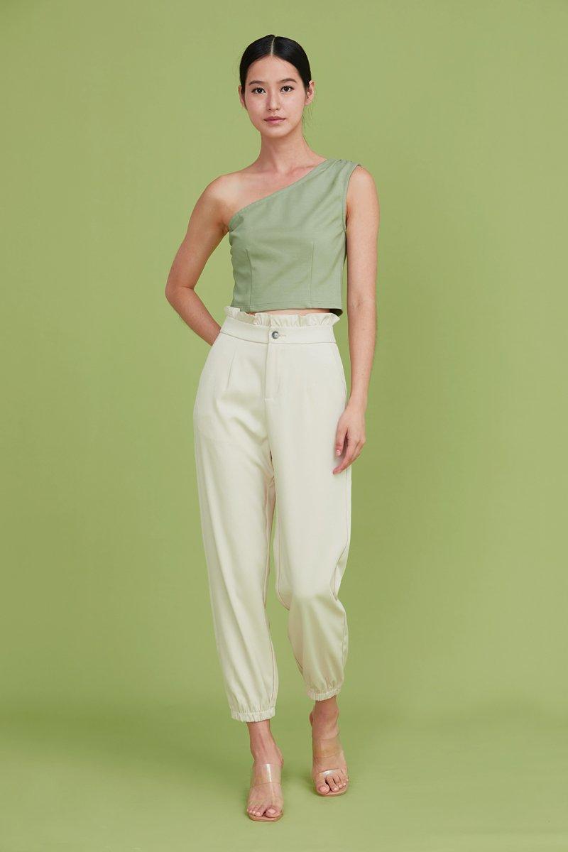 Leeann Ruffled Tapered Pants Cream