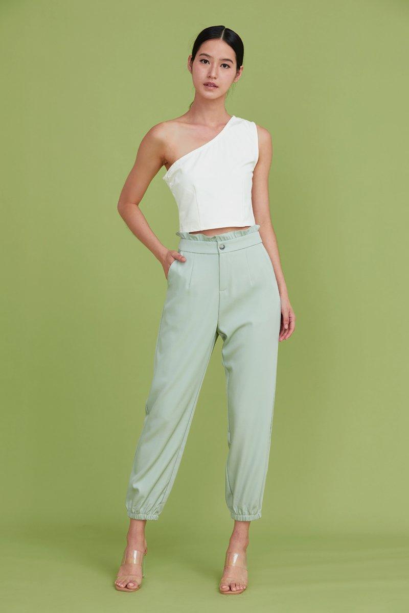 Leeann Ruffled Tapered Pants Mint