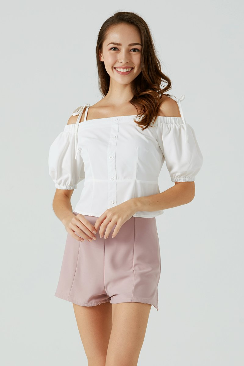 Fion Tie Strap Cold Shoulder Top Ivory