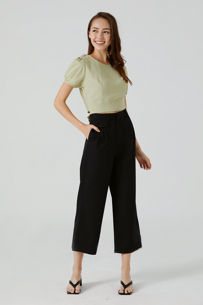 Kassie High Waisted Cropped Pants Black