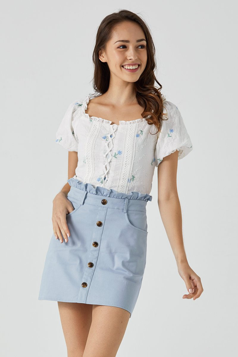 Venna Embroidered Front Lace Top Sky